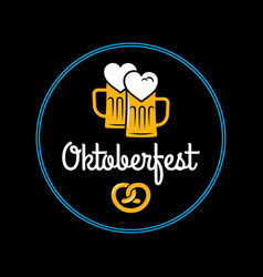 oktoberfest beer mugs logo on black background vector image
