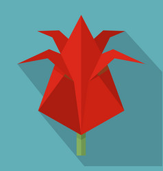 origami flower icon flat style vector image