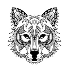 Ornamental Wolf ethnic zentangled mascot vector