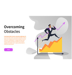 Overcoming obstacles businessman running up chart vector
