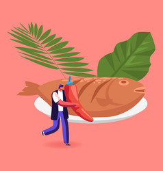 Penyetan traditional indonesian food with fish vector