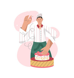 professional pastry chef making sweets isolated on vector image
