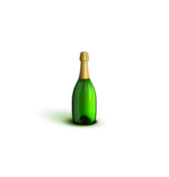 realistic champagne bottle mockup green glasses vector image