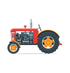 red cartoon tractor vector image