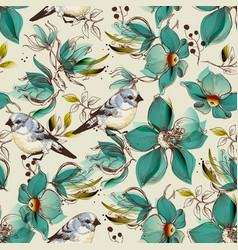 Retro seamless pattern cute flowers and birds vector