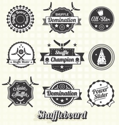 Retro Shuffleboard Labels and Icons vector image