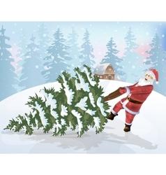 Santa Claus and Christmas tree vector image