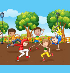 scene with many children dancing in park vector image