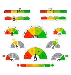 Scoring indicators goods gauge speedometers vector