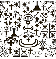 seamless pattern with fantasy crosses 8 vector image