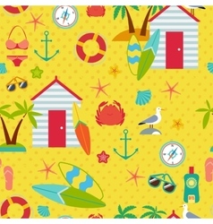 Seamless pattern with flat travel icons vector
