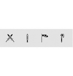 Set crossed medieval sword medieval flag and axe vector