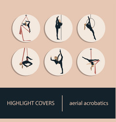 Set icons aerial acrobatics for your vector