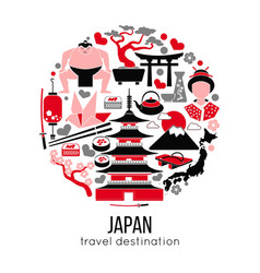 set japan tokyo and east culture symbols vector image