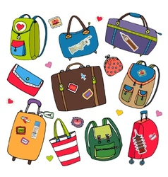 Set of bags backpacks and suitcases vector