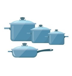 Set of dishes pots and pans icon flat vector