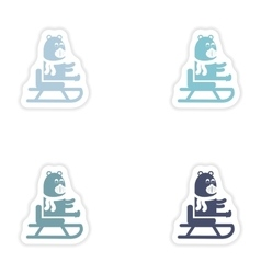 Set of paper stickers on white background Bear on vector
