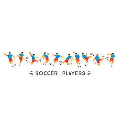 set of soccer players design element vector image