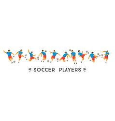 set soccer players design element vector image