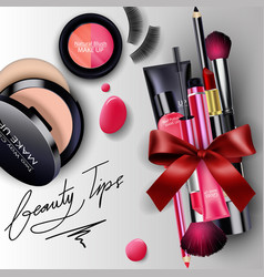 sets of cosmetics background with red ribbon vector image