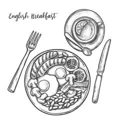 sketch english breakfast menu eggs bacon sausage vector image