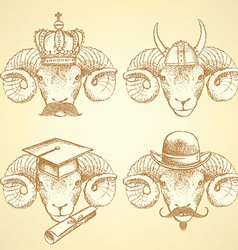 Sketch unusual rams set vector image