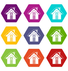 small snowy cottage icon set color hexahedron vector image