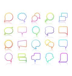 speech bubble simple color line icons set vector image
