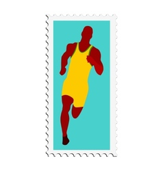 Stamp with image of athletics vector