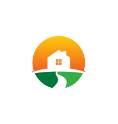 Sun real estate logo icon design vector