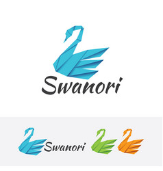 swan origami logo vector image