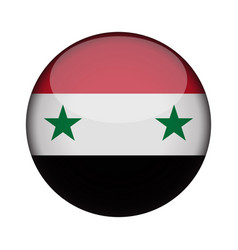 Syria flag in glossy round button of icon syria vector