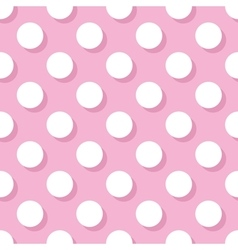 Tile pattern white polka dots on pink background vector image