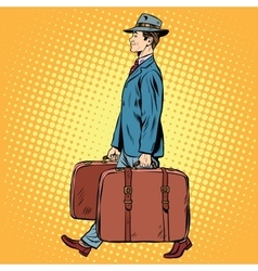 Traveler man with bags vector