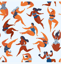 trendy pattern with girls in summer swimsuits vector image