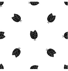 two basil leaves pattern seamless black vector image