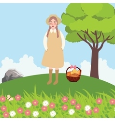 village girl bring bags of bread in field outdoor vector image