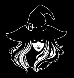 witch in a classic hat with flowing hair and a vector image