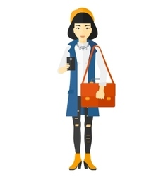 Woman using smartphone vector image