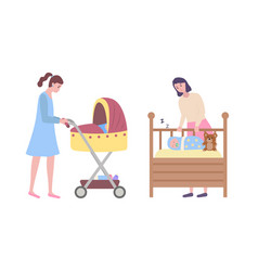 Woman walking with perambulator cradle and baby vector