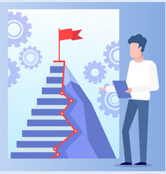 worker standing near target step with flag vector image