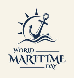 World maritime day with anchor in flat style vector