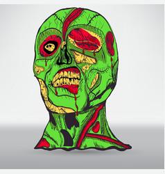 Zombie head with brain vector