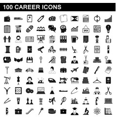 100 career icons set simple style vector image vector image