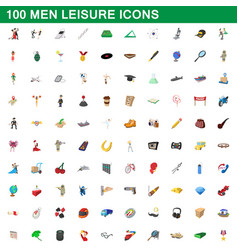 100 men leisure icons set cartoon style vector image vector image