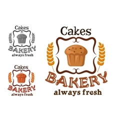Bakery shop sign with cupcake and wheat vector image vector image