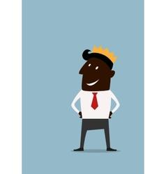 Cartoon businessman in golden crown vector