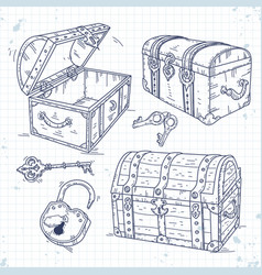 set icons old pirate chests with lock and keys vector image