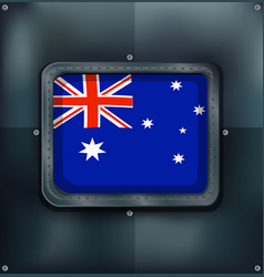 australia flag on metalic background vector image vector image