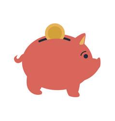 Pink piggy put coin money banking vector